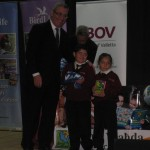The Education Minister Hon. Evarist Bartolo presenting Elise Caligari and Logan Galea with the awards.