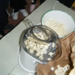 Then they listened to  the small explosion or 'pop' made by the popcorn.