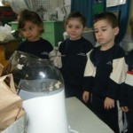 First the children saw the popcorn kernels puffing up.
