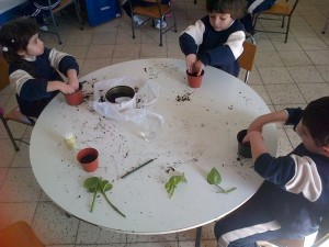 Children planting.
