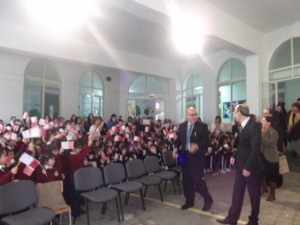 Mr. Preca being given a warm welcome by all the pupils and staff.