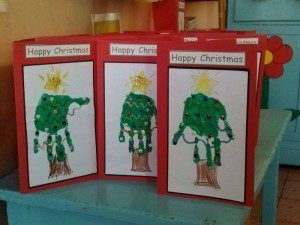 Christmas Cards - The children made use of their hand prints to create this original Christmas Tree