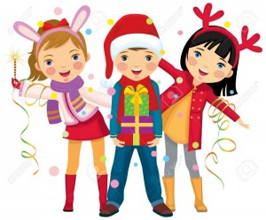 13365769-children-s-christmas-party-a-surprise-stock-vector-christmas-kid-illustration