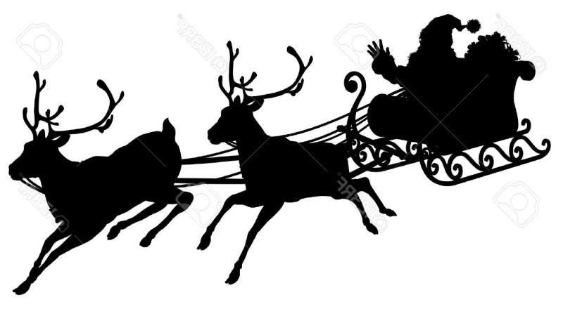 23887372 santa sleigh silhouette illustration of santa claus in his